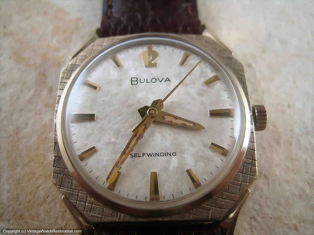 Quintecential Sixties Styling Asymetric Bulova with Textured Case and Dial, Automatic, 31x31