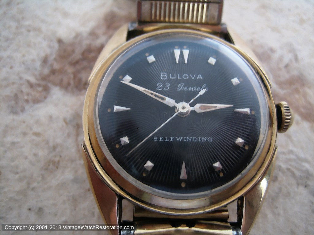 Bulova 23 Jewels Black Sunburst Dial, Automatic, 31x40mm