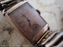 Load image into Gallery viewer, Copper Dial Bulova in Rectangular Copper-Gold Case, Manual, 21x28.5mm