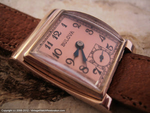 Tilt Shape Rose Gold Bulova with Rose Colored Dial, Manual, 22x34.5mm