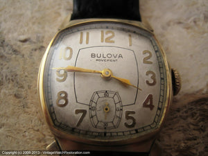 Bulvoa Square Tonneau Case with Ivory Dial, Manual, 27.5x35mm