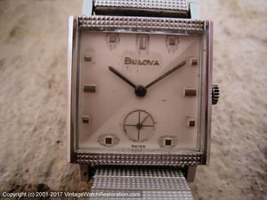 Bulova Square 'Counselor' with Original Matching Bracelet, Manual, 26.5x26.5mm