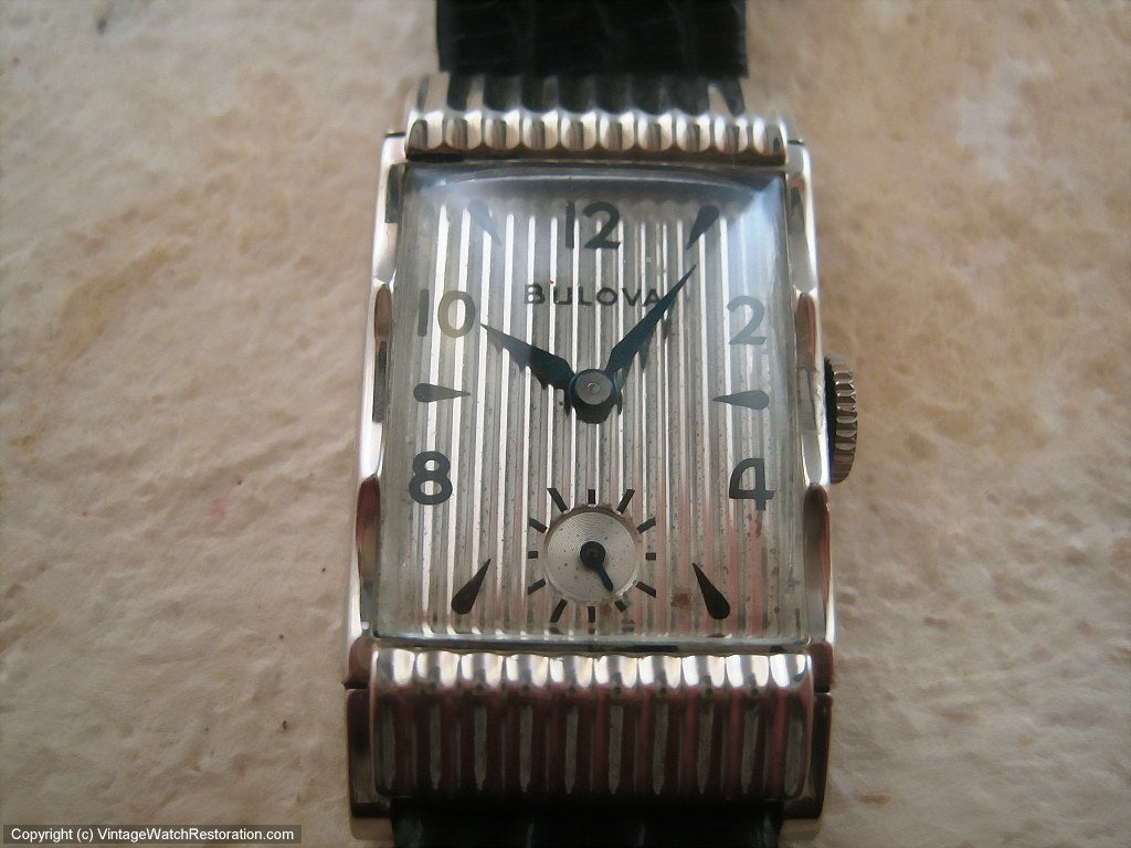 Fifth Avenue Art Deco Bulova Tank Gem, Manual, 21x38mm