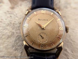 Bulova from the Fifties with Golden Patina, Pie Pan Dial and Curved Lugs, Manual, 29mm