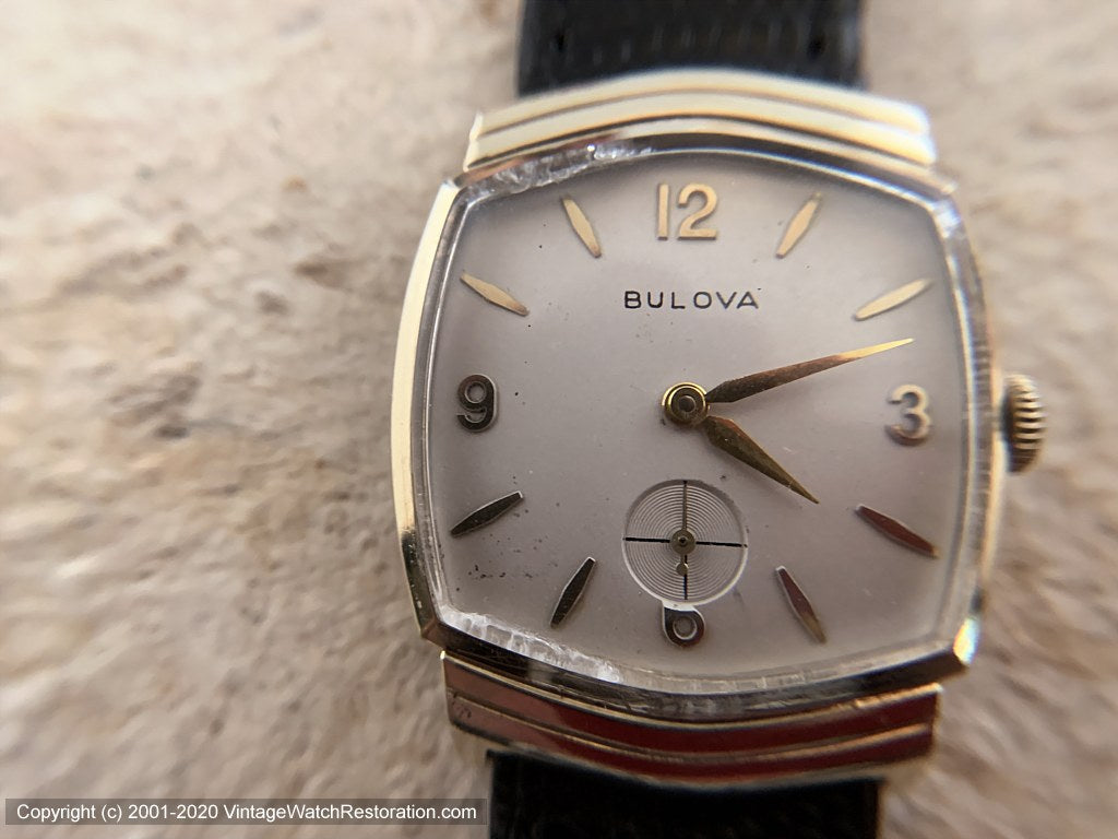 Bulova with Ivory Dial in Chevron Style Case, Manual, 29x34mm