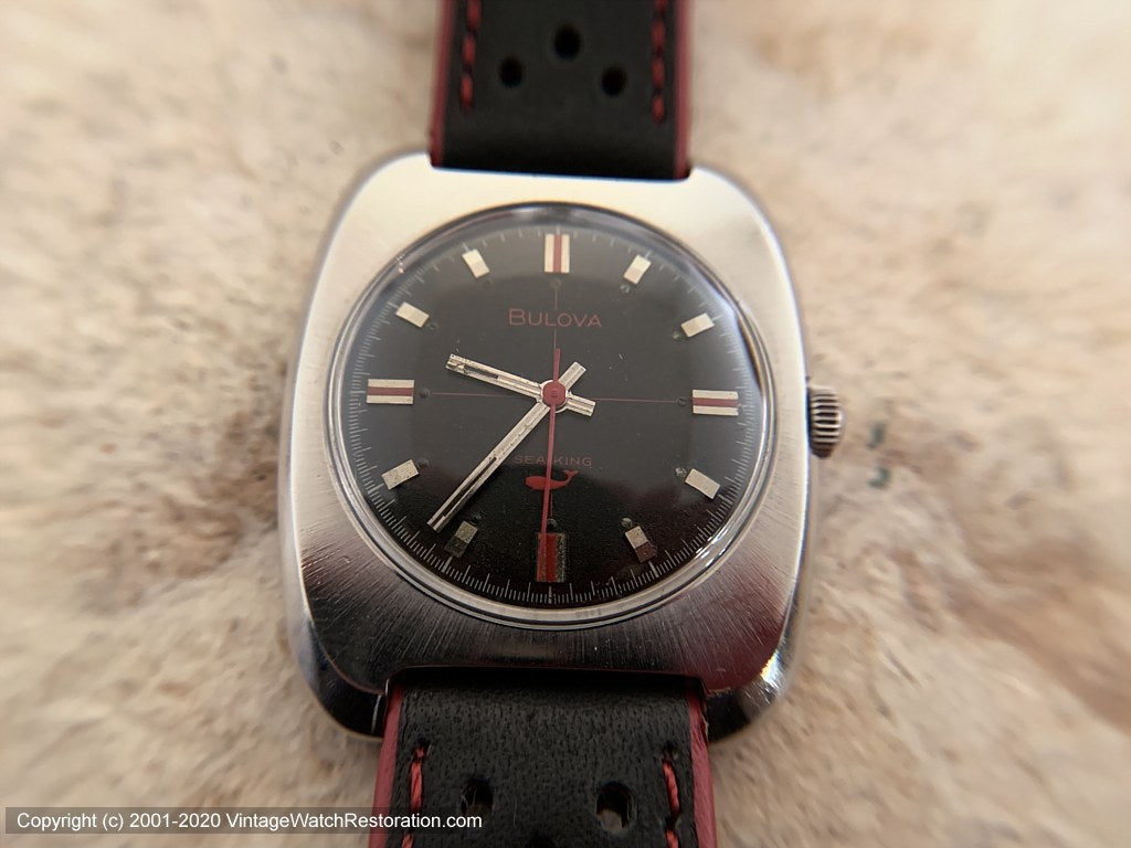 Bulova 'Sea King' Sporty Red and Black, Manual, 33.5x40mm