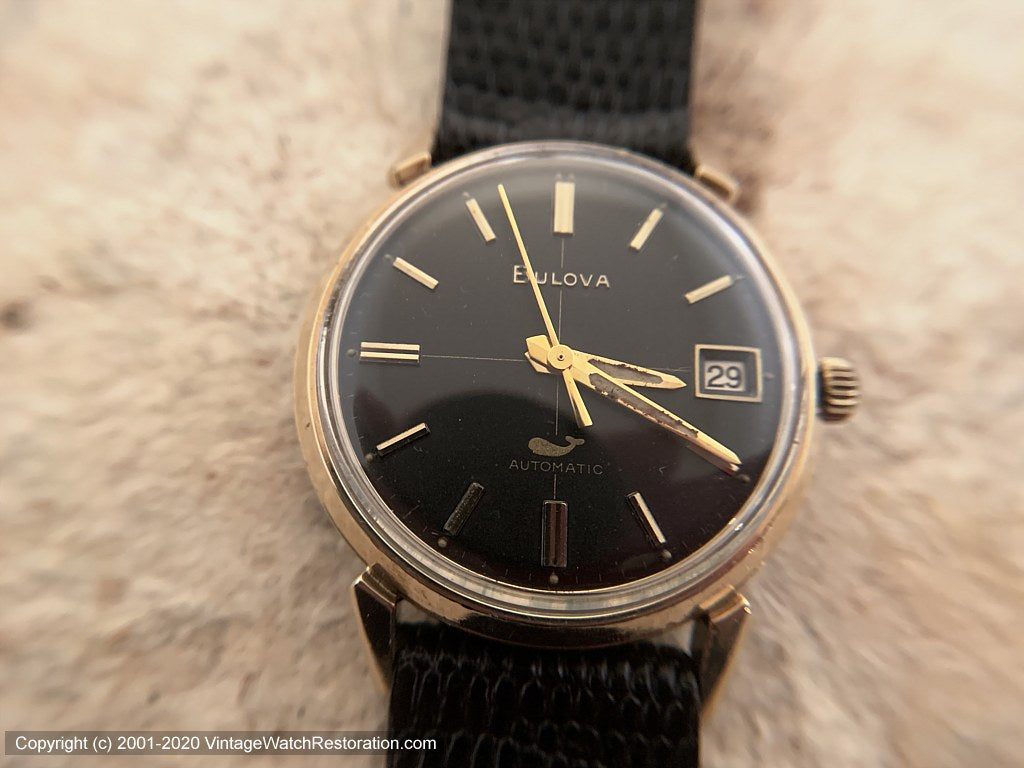 Bulova with Stunning Black Dial and Date, Automatic, 33mm