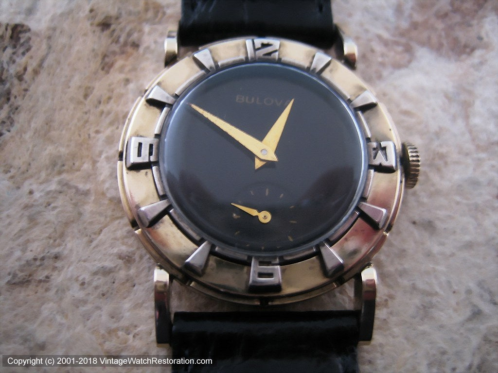 Fifties Era Bulova 'Air King' Black Dial Deco Style, Manual, 30.5mm