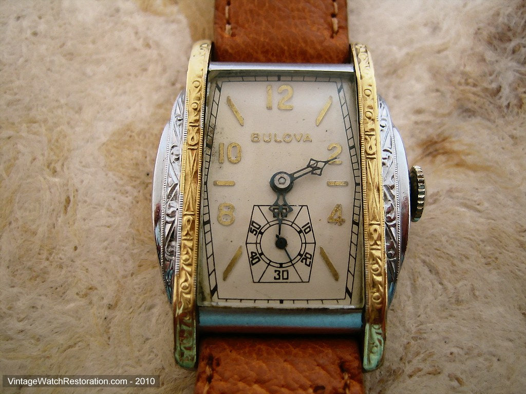 Fantastically Decorative Stepped Design Bulova, Manual, 27x37mm