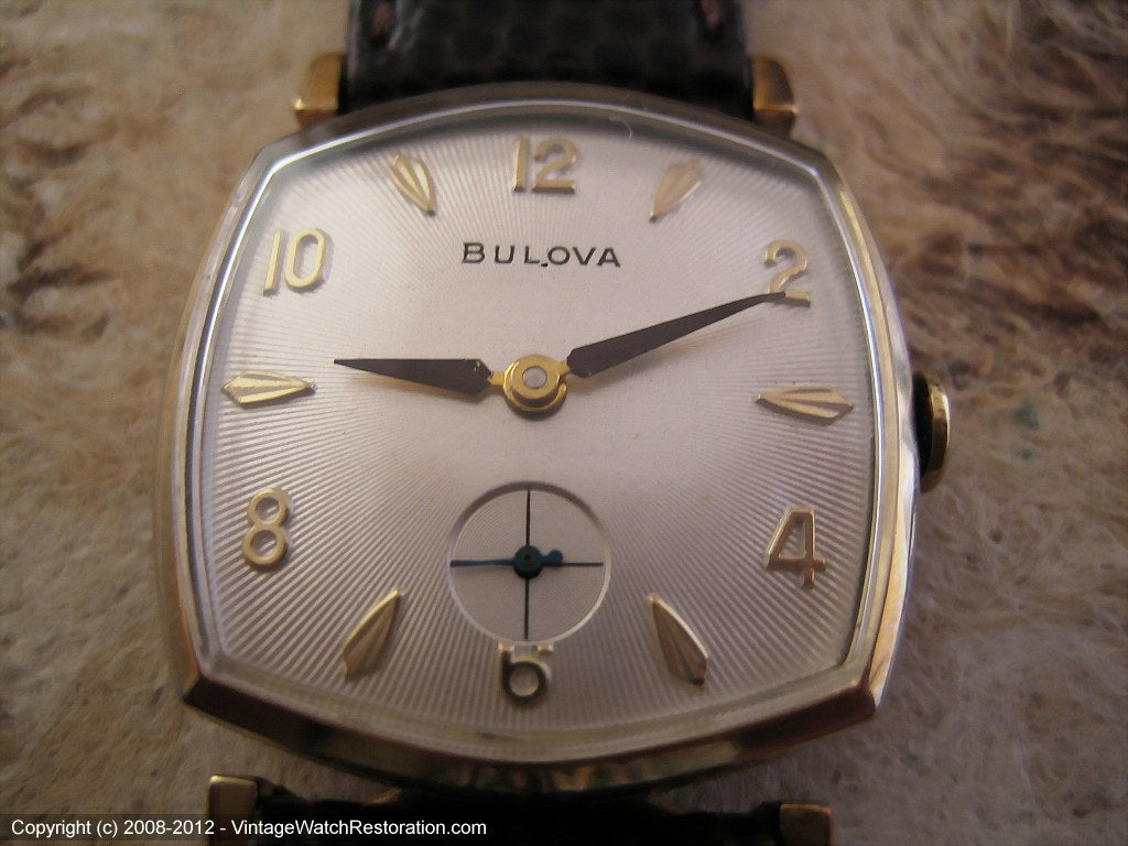 Six Sided Bulova with Sunburst Silver Dial, Manual, 28x36mm