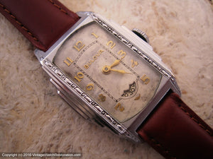 Bulova Rare 'President' Model with Rotary Second Dial in Stepped Case, Manual, 25.5x33mmmm