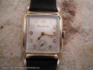 Bulova in Art Nouveau Style Light Gold Case with Presentation Box  , Manual, 25x39mm