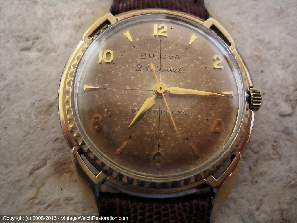 23 Jewel Premium Caliber Bulova with Great Dial Aging, Automatic, Large 34mm