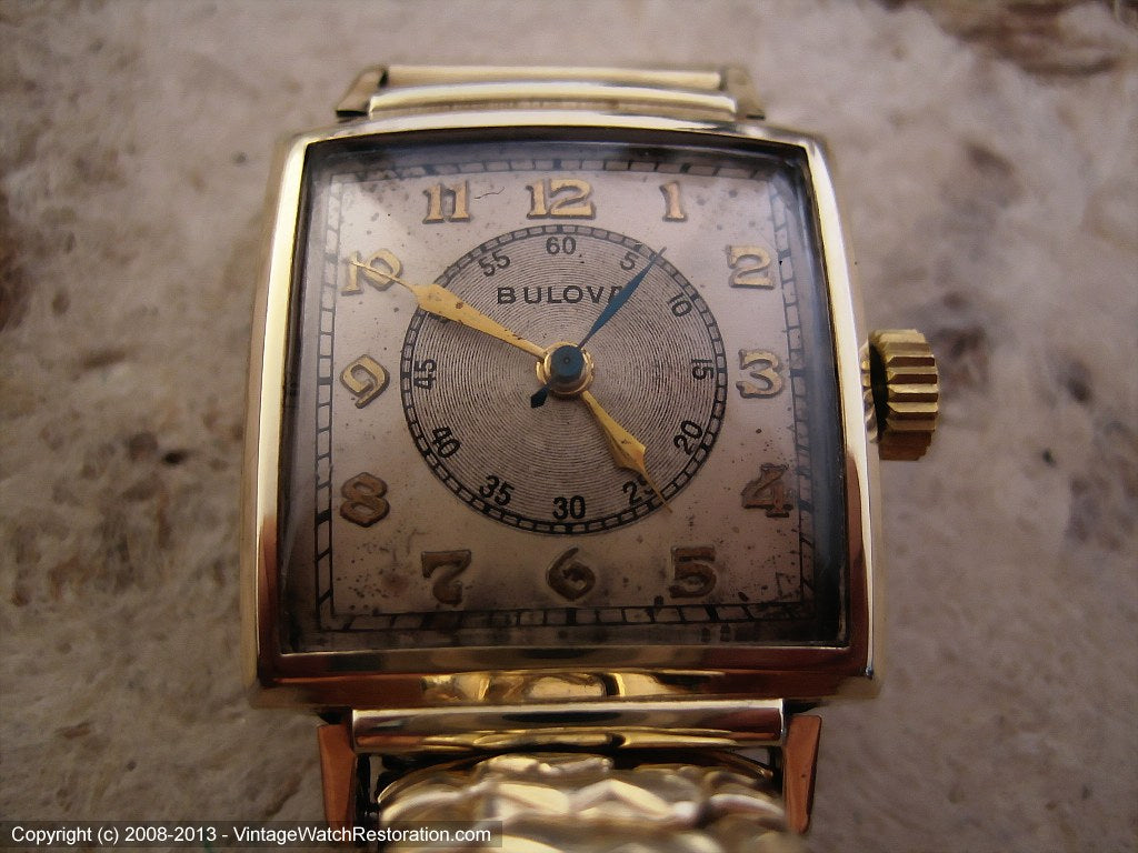 Bulvoa Square Doctor's Watch with Original Two Tone Dial, Manual, 25x25mm