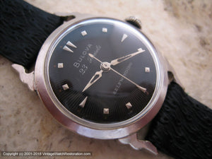 Bulova 23 Jewels Black Dial in Horned Case, Automatic, 31.5mm