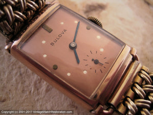 Bulova Copper Dial in Rounded Edge Deco Rose Gold Case, Manual, 22x35mm