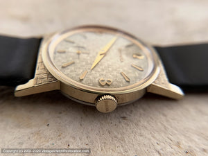 Bulova NOS Mint Sixties Gem with Textured Woven Dial and Case Design, Manual, 30x39mm