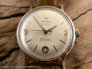 Benrus 3-Star 25 Jewel with Round Date Window at Bottom of Dial, Automatic, 34mm