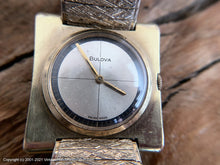 Load image into Gallery viewer, Bulova Original Silver Cross Hair Design Dial in Golden Square Case , Manual, Square 31x31mm