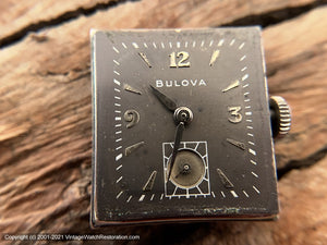 Bulova Gray Dial, Quandrant Crystal, White Gold Filled Rectangular Case, Manual, 22x38mm