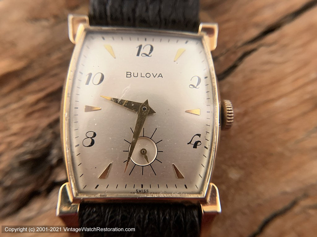 Bulova Large Decorative Tonneau Case and Scripty Numerals and Shark Strap , Manual, 25.5x39mm