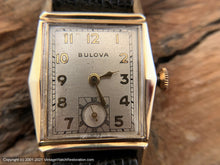 Load image into Gallery viewer, Bulova c.1946 in Angular Case, Domed Crystal and Near Perfect Silver Dial, Manual, 25x36