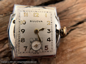 Bulova c.1946 in Angular Case, Domed Crystal and Near Perfect Silver Dial, Manual, 25x36