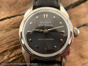 Bulova 23 Jewel Black Dial with Sunburst, Automatic, 31mm
