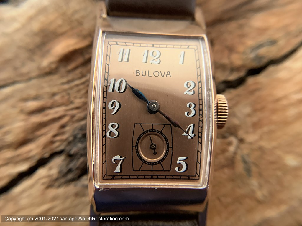 Bulova Copper Dial in a 14K Rose-Gold Rectangular Case, Manual, 21.5x39mm