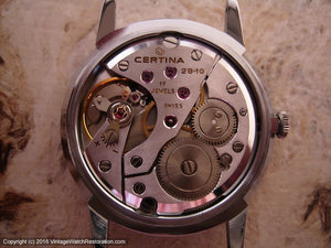 Certina NOS Slate Gray Dial, Signed 6x, Manual, 34mm