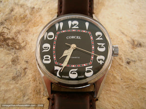 Cool Black Dial Corcel with Most Unusual Art Nouveau Styled Numbers, Automatic, 33mm