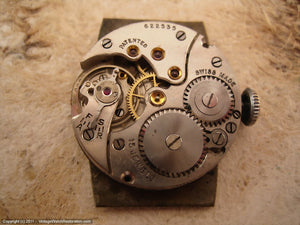 Cyma Art Nouveau Style Numbered Dial on Early Tank-Shaped Case, Manual, 27x32mm