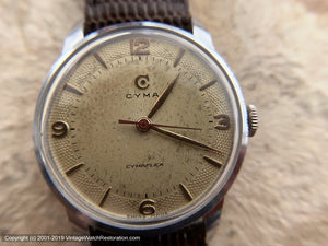 Cyma Cymaflex Perfectly Patinaed Dial circa WWII, Manual, 30.5mm
