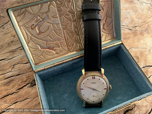 Certina Pearl Light Patina Dial in Rare Pin Cushion Bezel Case with Original Certina Box, Manual, 37mm