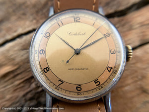 Cortebert from 1940s with Stellar Rust-Coppery Two-Tone Dial, Manual, Large 35mm