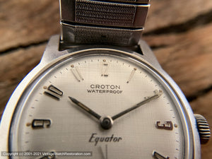 Croton' Equator', Original Textured Linen Dial with Golden Numerals, Manual, 30mm
