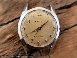 Croton Aquamatic Golden Patina Dial on Unusual Wide Black Leather Strap, Automatic, 32mm