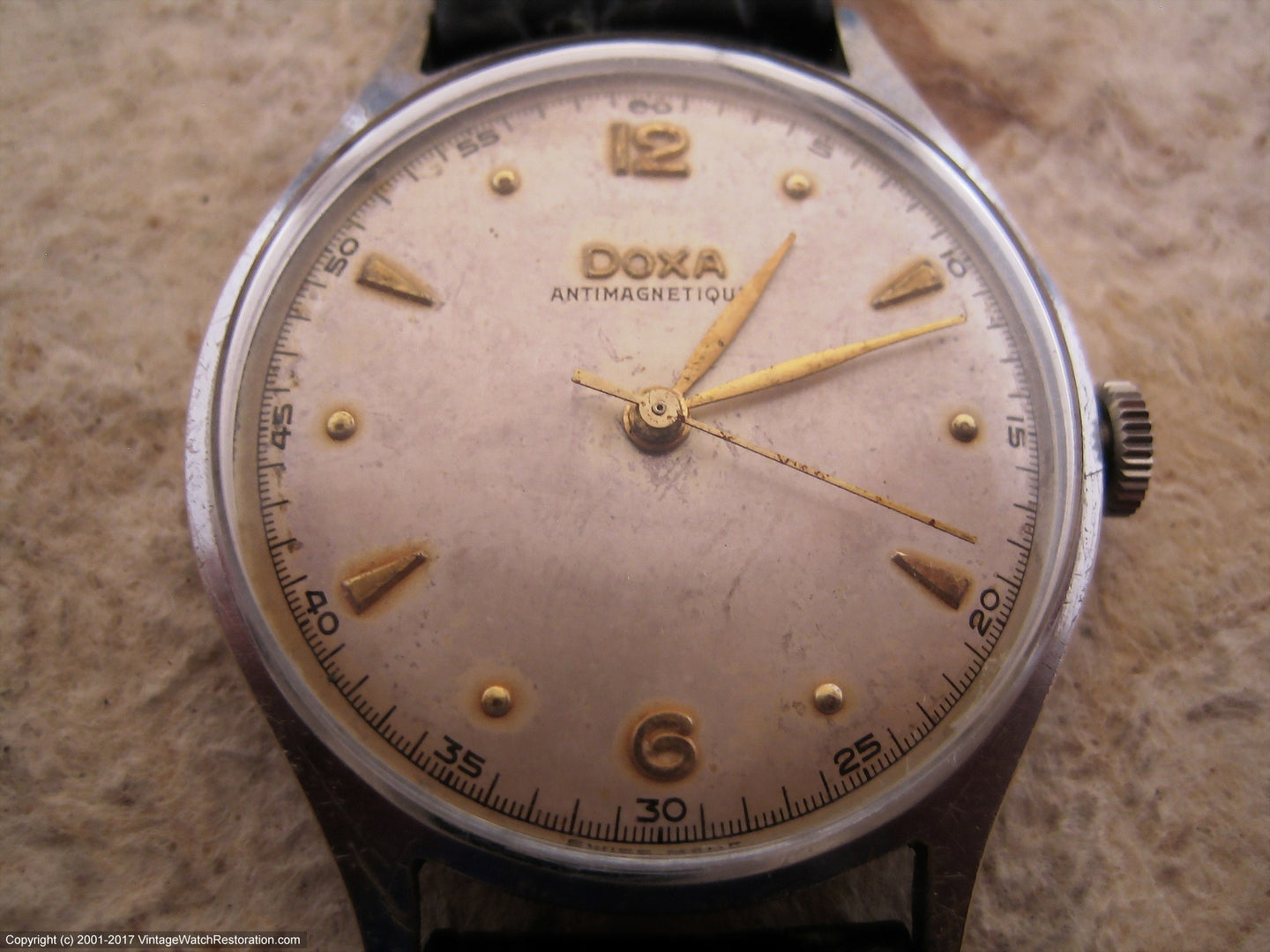 Doxa Antimagnetique with Nice Patina Dial, Manual, Large 35mm