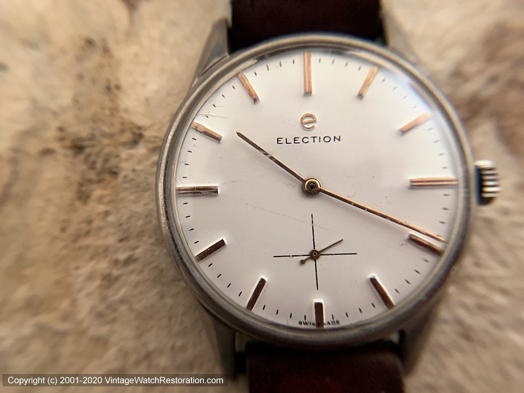 Election Large & Bold with Pure White Dial and Rose Gold Case and Numbers, Manual, Very Large 37mm