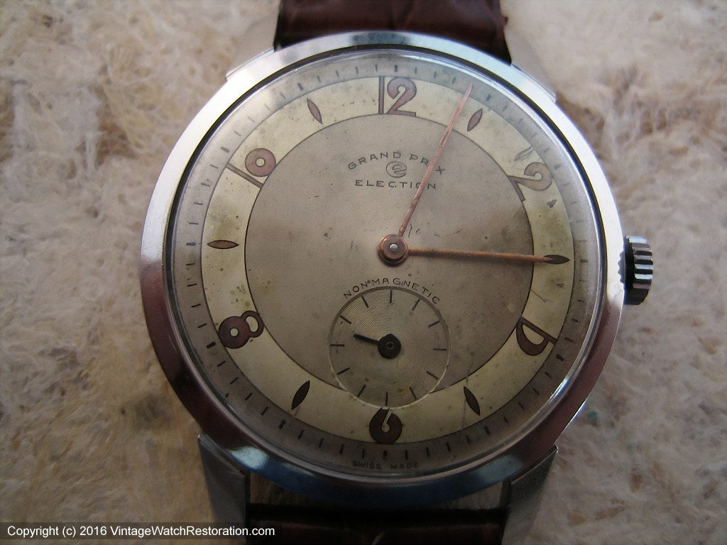 Nicely Aged Two-Tone Election Grand Prix with Art Deco Style Dial , Manual, Large 35mm