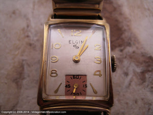 Elgin Silver Dial Rectangular Case with Copper Subdial, Manual, 21x37mm
