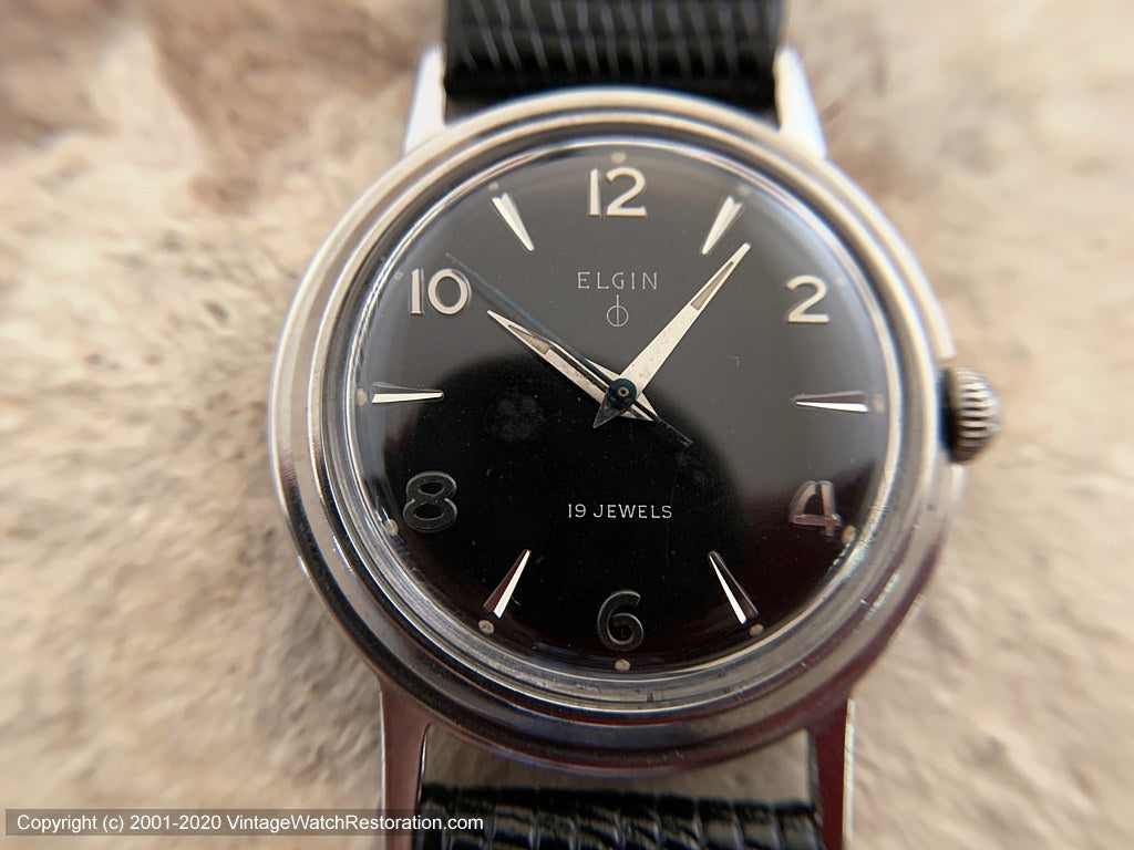 Elgin (US) Classic Black Dial in Case with Recessed Crown Design, Manual, Large 34mm