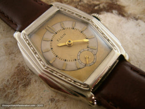 Two Toned Gold-Ivory Elgin with Tonneau-Tank Case, Manual, 29x38mm
