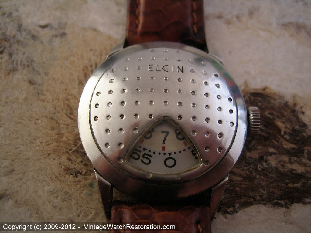 Elgin Direct Read 'Golf Ball' in Rare White Gold, Manual, 30mm