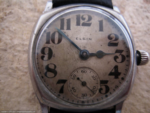 Elgin Early Model in Decorative Cushion Case, Manual, 31.5x31.5mm