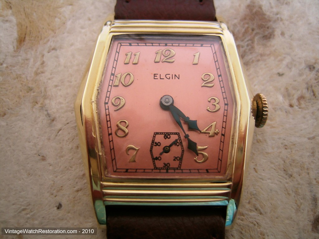 Large Six Sided Elgin Tank with Coppery-Rose Dial, Manual, 29x38mm
