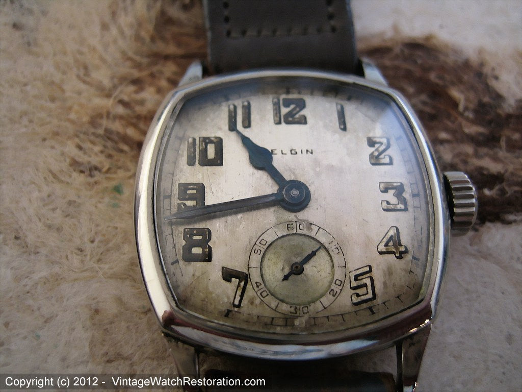 Early Elgin Square Tonneau with Period Gray Stitched Calfskin Strap, Manual, 27x35mm
