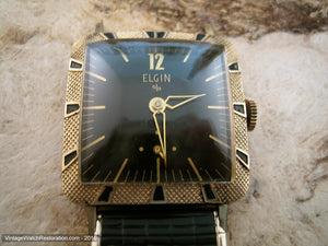 Mint Square Black/Gold Elgin with Matching Bezel and Bracelet, Manual, 28x36mm