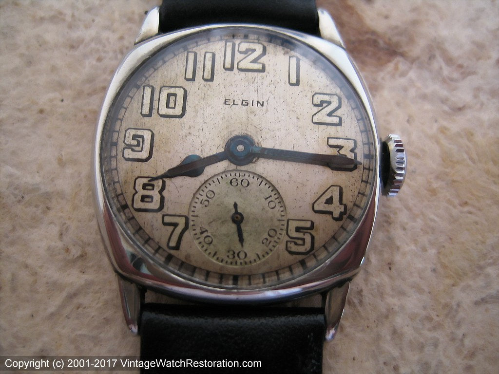 Mid-Twenties Elgin Square Tonneau with Impressive Dial, Manual, 28x28mm