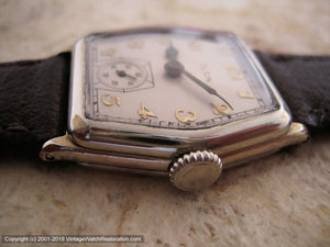 Elgin ca. 1930 with Super Dial in Large Hexagon White Gold Case, Manual, Large 29x36mm